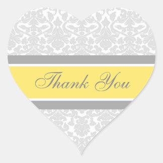 Lemon Damask Thank You Wedding Envelope Seals Heart Sticker