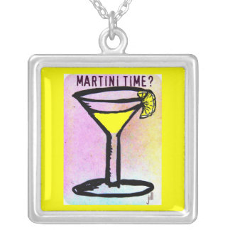 LEMON DROP MARTINI TIME PASTEL PRINT by Jill Silver Plated Necklace