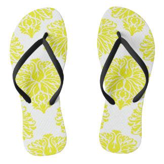 Lemon Elegant Damask Flip Flops
