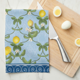 Lemon Espalier Leaf Blue French Country Floral Kitchen Towel