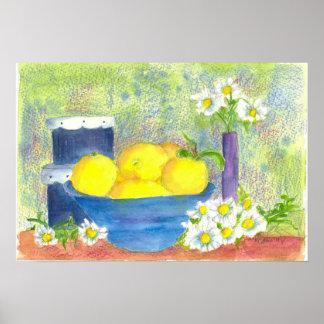 Lemon Fruit Bowl Daisy Vintage Hatbox Watercolor Poster