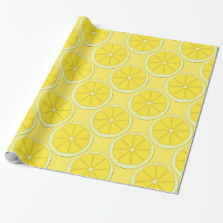 lemon fruit cartoon kitchen fun wrapping paper
