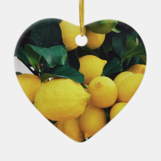 Lemon fruit tree ceramic ornament
