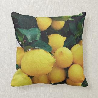 Lemon fruit tree throw pillow