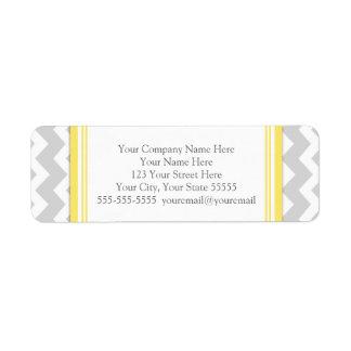 Lemon Gray Chevrons Business Contact Info Labels