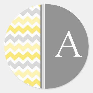 Lemon Gray Chevrons Monogram Envelope Seal