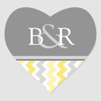 Lemon Gray Chevrons Monogram Envelope Seal Heart Sticker