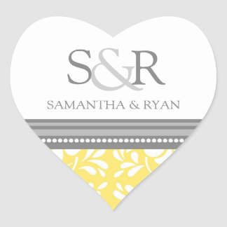 Lemon Gray Damask Monogram Envelope Seal Heart Stickers