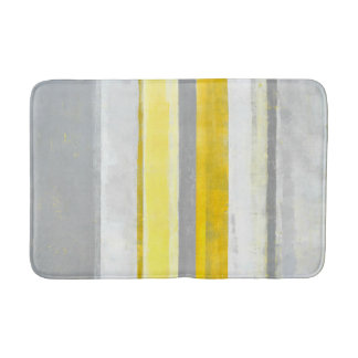 'Lemon' Grey and Yellow Abstract Art Bath Mat
