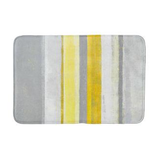 'Lemon' Grey and Yellow Abstract Art Bathroom Mat