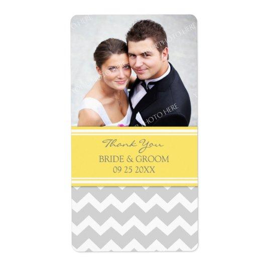 Lemon Grey Chevron Photo Wedding Labels