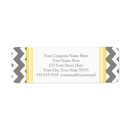 Lemon Grey Chevrons Business Contact Info Labels