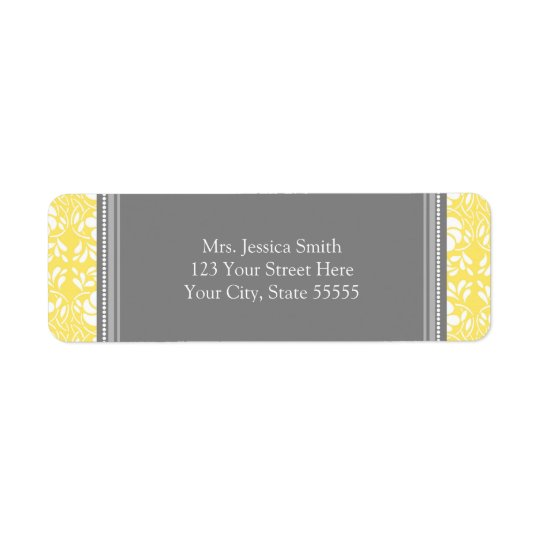 Lemon Grey Damask Custom Return Address Labels