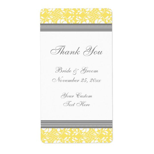 Lemon Grey Damask Wedding Labels
