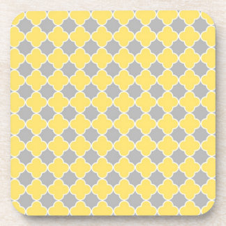 Lemon Grey Quatrefoil Pattern Coaster Set