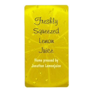 Lemon juice bottle label shipping label