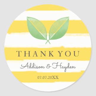 Lemon Leaves Yellow & Green | Thank You Classic Round Sticker