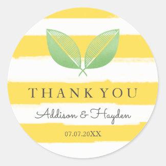 Lemon Leaves Yellow & Green | Thank You Classic Round Sticker
