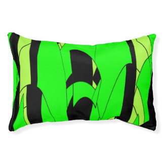 Lemon Lime Abstract Art Pet Bed