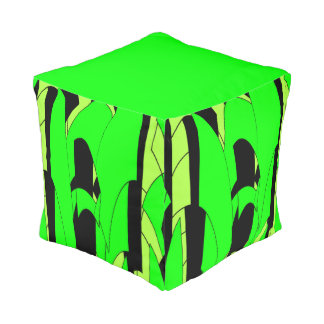Lemon Lime Abstract Art Pouf