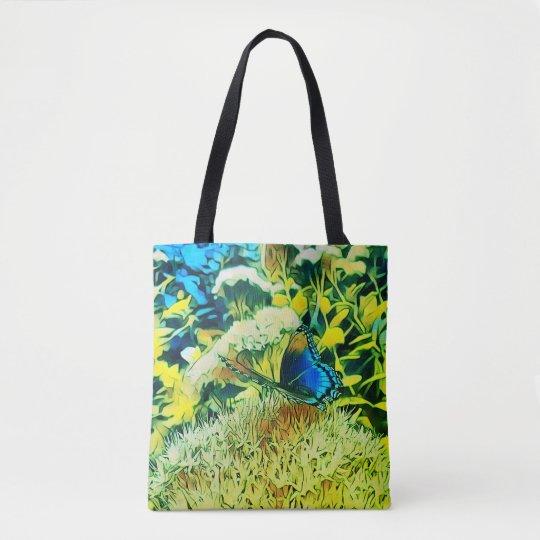 Lemon Lime Floral Backgrnd Blue Monarch Butterfly Tote Bag