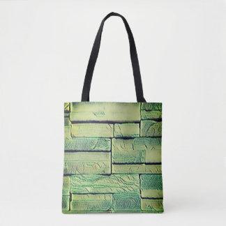Lemon Lime Green Funky Stacked Bricks Tote Bag