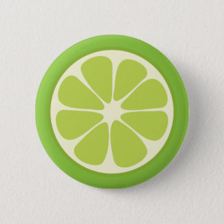 Lemon Lime Green Juicy Summer Citrus Fruit Slice 2 Inch Round Button