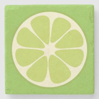 Lemon Lime Green Juicy Summer Citrus Fruit Slice Stone Coaster