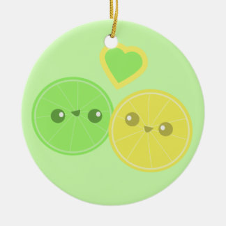 Lemon Lime Heart Kawaii Ceramic Ornament