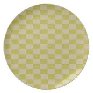 Lemon Lime Linen Checkered Plates