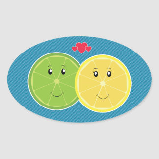 Lemon Lime Love Kawaii Vector Oval Stickers