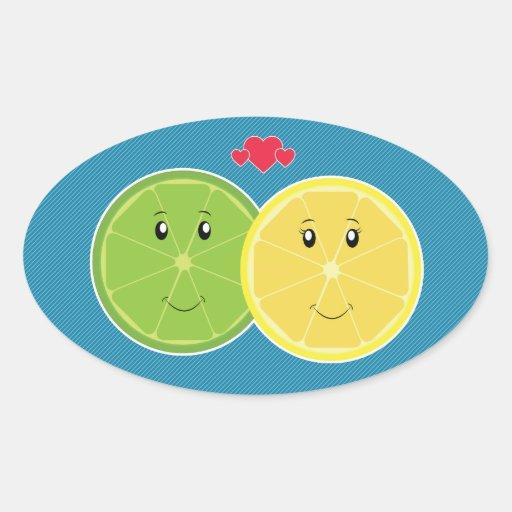 Lemon & Lime Love Kawaii Vector Oval Stickers