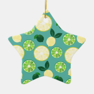 Lemon Lime Pattern Ceramic Ornament