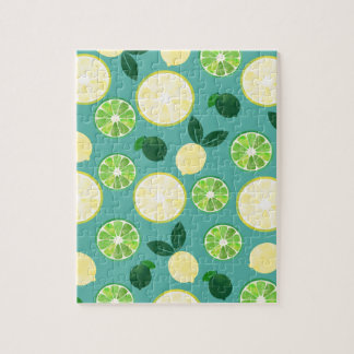 Lemon Lime Pattern Jigsaw Puzzle