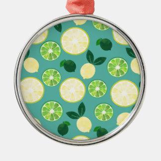 Lemon Lime Pattern Metal Ornament