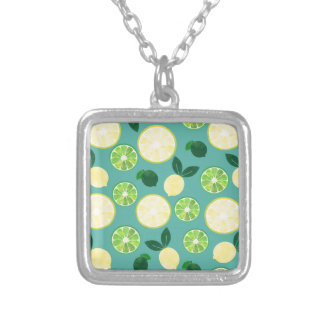 Lemon Lime Pattern Silver Plated Necklace