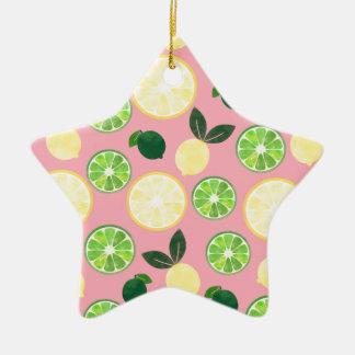 Lemon Lime Pink Ceramic Ornament