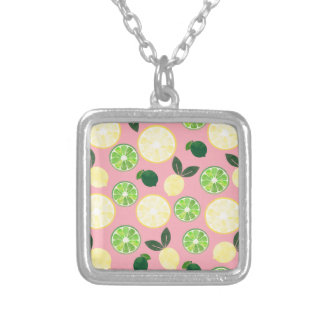 Lemon Lime Pink Silver Plated Necklace
