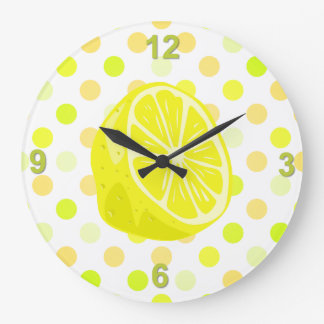 Lemon Lime Polka Dot Kitchen Wall Clock