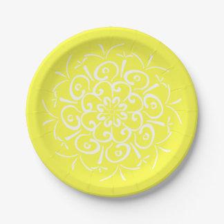 Lemon Mandala Paper Plate