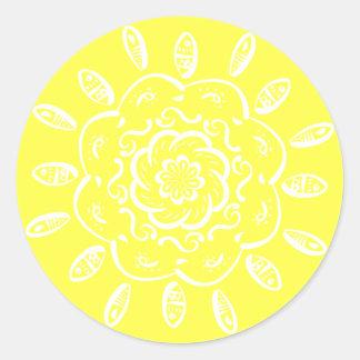 Lemon Mandala Round Sticker