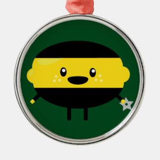 Lemon Ninja Silver-Colored Round Ornament