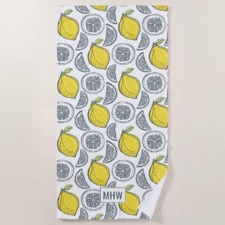 Lemon Pattern custom monogram beach towel