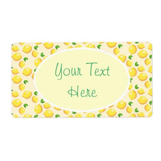 Lemon Pattern Yellow Green Writing Label Customize