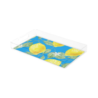 Lemon Print On Blue Background Acrylic Tray