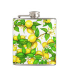 Lemon print on white flask