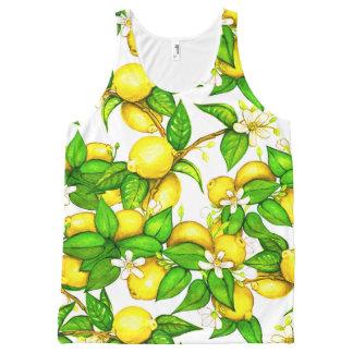 Lemon Print Tank Top on white