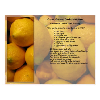 Lemon Recipe Postcard