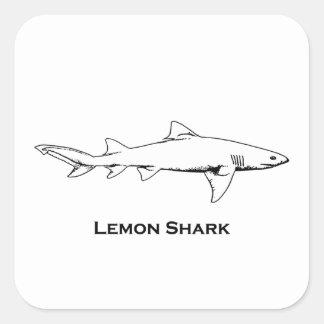 Lemon Shark Illustration Square Sticker