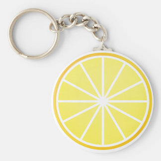 Lemon slice basic round button keychain